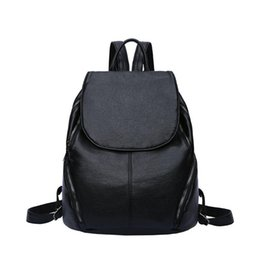 9a51e7949c Black Pu Leather Backpack Women Backpack Famous Brand School Bags for Girls  Solid Preppy Style mochilas mujer k2799
