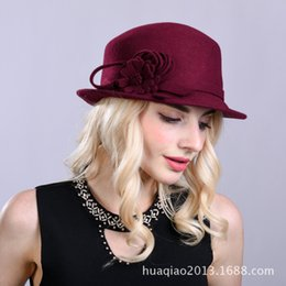 Discount lady head flowers - Lady Fedoras Wool Hat Girls Autumn Winter Dome Cap Female New Products Square-headed Woolen Hat Curled Flower Adjust B89