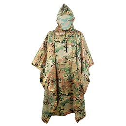 $enCountryForm.capitalKeyWord UK - Ligthweight Camo Ghillie Suits Poncho Polyester+PVC Waterproof Multifunctional Outdoor Sport Raincoat For Camping Hiking Hunting