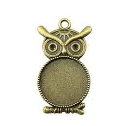 Blank Necklace Base UK - 12 Pieces Cabochon Cameo Base Tray Bezel Blank Jewelry Findings Components Owl Single Side Inner Size 20mm Round Necklace Pendant Setting