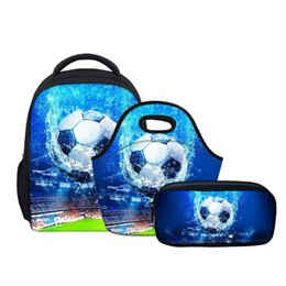 book cases 2019 - NOISYDESIGNS footboll printed 3Pcs set Boys School Bags for Children Kindergarten With Pencil Case Set Students Book Sch