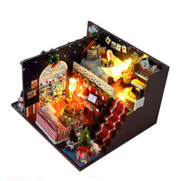 $enCountryForm.capitalKeyWord Canada - Christmas Eve Party Tree House Miniature DIY Kits Wood Doll House Furniture Dollhouse Model Assembling Toys for Kids Gift