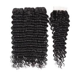 Wholesale Brazilian Deep Wave Hair Australia - Brazilian Deep Wave Human Hair Weave with Closure 4*4 free part Lace closure with Bundles Brazilian Deep Wave Human hair Extensions