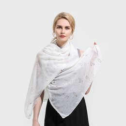 gold color print scarves 2019 - Winfox Ladies Womens White Grey Pink Color Cactus Rose Gold Foil Print Fashion Scarf Wrap Shawl Scarves cheap gold color