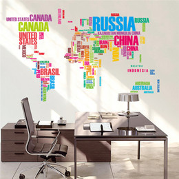 Art Stickers Decor Words Australia - World Map Wall Sticker English Words World Map Classroom Home Wall Removable Sticker PVC Art Decal Decor Poster Free Shipping