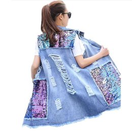 $enCountryForm.capitalKeyWord UK - Bust (104-134cm) Plus Size Jacket Sleeveless Summer Oversized Denim Vest Women Sequin Boyfriend Ripped Jeans Vest Long Waistcoat