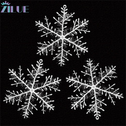Discount winter decorations snowflake wholesale Zilue 3pcs Pack Winter Christmas Decorations Shopping Mall Window Dress Up Snowflake Christmas Tree Snowflake Sticker Charm
