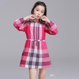 England Plaid Canada - Plaid England Style Girl Dresses Summer Style Children's Clothing Dresses For Big Medium Girl Vestido Plaid Cotton Girl Clothes