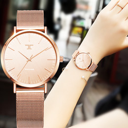 $enCountryForm.capitalKeyWord NZ - Ladies Simple Rose Gold Stainless Steel Mesh Band Gold Watch Womens Watches 2016 Top Brand Casual Quartz Watch Women Waches