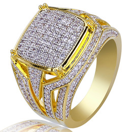 China new mens ring vintage hip hop jewelry Zircon iced out stainless steel rings luxury real gold plated for lover fashion Jewelry wholesale cheap luxury wedding bands suppliers