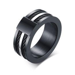Black Cable Ring Australia - Unique Mens Rings Stainless Steel Double Cable Wire Inlaid Wedding Bands Ring for Men Male Black Fashion Jewelry 9mm
