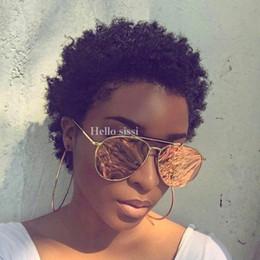 Burmese Curly Hair Weave Australia - Human Hair Wig Afro Kinky Curly Weave Short Hair Machine Made Human Hair Wigs For Women Free Shipping