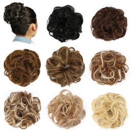 Discount hair extensions bands - Chignon Hair Bun Hairpiece Curly Hair Scrunchie Extensions Blonde Brown Black Heat Resistant Synthetic For Women Hair Pi