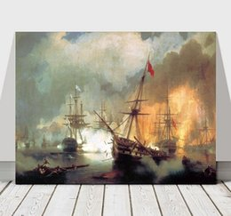 seascapes oil NZ - Ivan Constantinovich Aivazovsky - Battle of Navarino canvas,Perfect Hand-painted Seascape Art oil painting On Canvas Multi Sizes Sc049