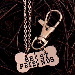 gold pendants dog 2019 - DHL BEST FRIENDS Pendant Necklace Pet Dog Bones Gold Silver Jewelry BFF Necklace 2 Part Dog Bones Necklace Keychain chea