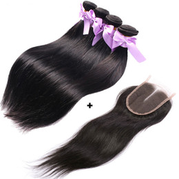 Discount kinky hair weave light brown - Brazilian Weave Human Hair 4 Bundle Straight Hair Weaves With Top Swiss Lace Closure Unprocessed Kinky Straight Brazilia