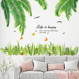 Grass Stickers NZ - heap Wall Stickers [SHIJUEHEZI] Green Grass Wall Stickers Vinyl DIY Tropical Palm Leaves Mural Decals for Living Room Kitchen Bedroom Dec...