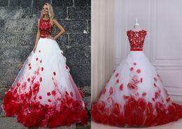 41f9fc3fdae3 Abiti da ballo rosso e bianco Prom Dresses Due pezzi Nuovo economico  gioiello collo pizzo applique fiori 3D floreali Tulle abito da sera lungo  formale