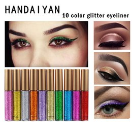 Discount new brand cosmetics - New HANDAIYAN Brand Shining Glitter Liquid Eyeliner Pencils Long Lasting Blue White Color Shimmer Eye Liner Make Up Cosm