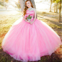 sweet 16 button dress NZ - Beautiful Pink Quinceanera Dresses 2018 Ball Gowns Tulle Crystal Beaded Ruffles Vestidos De 15 Anos Sweet 16 Dresses