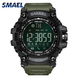 Green Plastic Army Men Canada - Wholesale-50Meters Swim Dress Sport Watches Smael Brand Army Green Style Bluetooth Link Smart Watches Men Digital Sport Male Clock 1617B
