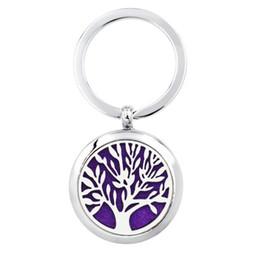 $enCountryForm.capitalKeyWord NZ - Tree of life Footprint Key ring Perfume Aromatherapy Essential Diffuser Locket Key chain Alloy 30mm Hollow Locket with 5pads randomly