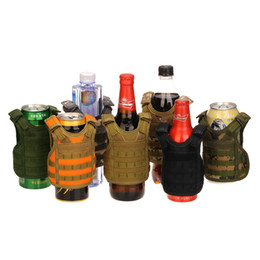 TacTical vesT green online shopping - Tactical Beer Beverage Bottle Cooler Vest Molle Mini Hunting Vests Model Cup Sleeve Adjustable Shoulder Straps Beverage Coolers