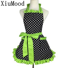 White cotton coverall online shopping - Xiumood Fashion Sexy Aprons Cotton Cute Bib White Dots Kitchen Cooking Women Apron Dress With Pocket Gift