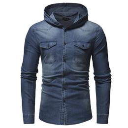 $enCountryForm.capitalKeyWord Canada - Men'S Fashion Shirt Cotton Full Sleeve Hooded Demin Shirt Man Casual Streetwear Chest Pocket Design Cowboy