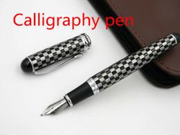 Pen Boards UK - JINHAO X750 Black white square Silver Trim chess board Calligraphy Nib Fountain Pen