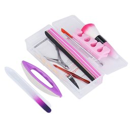 professional art kits NZ - 1 set Nail Art Tips Liquid Buffer Glitter Deco Full Kit Set Professional Nail Decoration DIY Manicure Tool Sanding File Tools