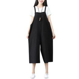 Harem Jumpsuits Women Canada - Women Solid Plus Size Spaghetti Straps Jumpsuit Ladies Casual Loose Cotton Linen Sleeveless Vintage Wide Leg Harem Pants Rompe