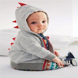 Boys Dinosaur Jacket Australia - 2018 Baby Boy Clothes Spring Cotton Baby Dinosaur Long Sleeve Coat Gray Hooded Infant Jacket Autumn Fashion Children Clothing