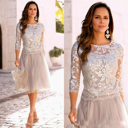 ef3d774376 2018 elegant cheap mother of the bride dresses lace applique tulle knee  length cocktail party dress in stock