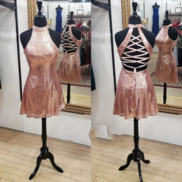 $enCountryForm.capitalKeyWord Canada - Sparkle Sequins Homecoming Dresses 2018 Rose Gold Hoco Prom Party Dance Dress Lace Up Back High Neck Real Pictures