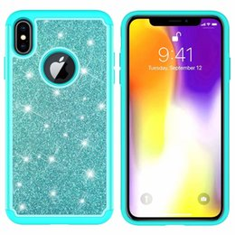 iphone rubber glitter cases 2019 - Bling Glitter Diamond Case For Iphone XR XS MAX X (6 7 8)+ Sparkle Cover Armor Shockproof Defender Hybrid Hard PC+Rubber