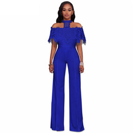 women jumpsuit black blue UK - Wholesale Free Shipping Sexy Casual Ladies Halter Neck Lace Ruffles Bodycon Plus Size Woman Full-length Club Jumpsuit Overall