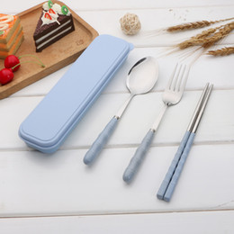 spoon fork chopstick travel set NZ - Travel Outdoor Picnic Stainless Steel Tableware ( Fork Spoon Chopsticks Set) Plastic Handle - Portable Camping Picnic Lunch Box Cutlery