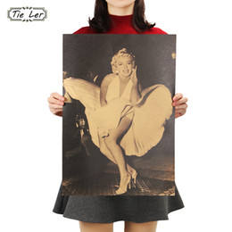 Discount marilyn monroe art posters - TIE LER Marilyn Monroe Sexy Lady Photo Kraft Paper Poster Retro Wall Art Living Room Decor Bar Cafe Wall Sticker 51.5x36