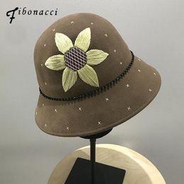 Sunflower Hats Australia - Fibonacci 2018 New Wool Felt Female Fedoras Hat Hand Embroidered Sunflower Flower Bead Chain Dome Bucket Hats for Women