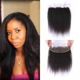 $enCountryForm.capitalKeyWord NZ - Bleached Knots Full Lace Frontal Closure Indian Virgin Kinky Straight Human Hair Lace Frontals Baby Hair