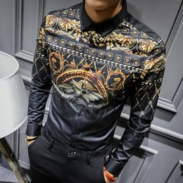 $enCountryForm.capitalKeyWord Canada - 2018 Autumn Mens Gold Shirts Social Club Shirt Luxury Baroque Shirts Camisa Slim Fit Black Gold Mens Designer 3XL 4XL