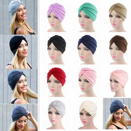 11 Colors Indian Style Cotton Turban Hat Solid Cross Baotou Bandana  Hairband Chemo Pleated Head Wrap Hijab Cap AAA697 05e9cbbb7f39