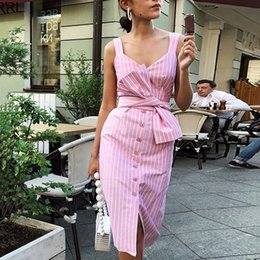 striped bottom dress 2019 - 2018 New Women Sexy V-neck sleeveless stripe Straight Autumn Bottoming Long section dress Fashion button belt knee-lengh