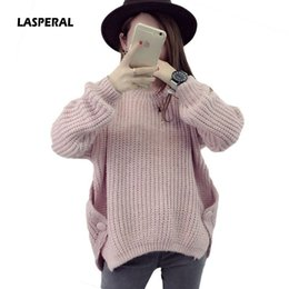 bdbcbc2685 wholesale Femme 2018 New Autumn Winter Women Solid Fashion Sweater Button  Pullovers Korean Thick Knit Mohair Sweater Loose Jumper