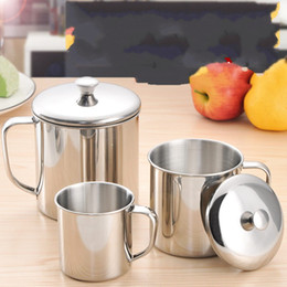 mug foods 2018 - 304 Stainless Steel Mug With Cover Children Food Grade Water Cup Portable Silver Office Hand Cups 10 3kb6 Ww cheap mug f