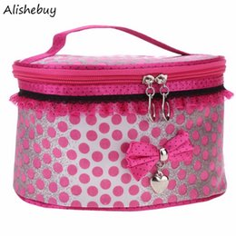 Watermelon Cosmetic Bags Cases Australia - Women Cosmetic Bag Princess Bow Travel Storage Organizer Box Make Up Tool Holder Lace Travel Dots Leopard Cosmetic Case SV012825