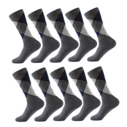 Discount patterned socks for men 10 Pair  Lot Men 'S Socks Solid Color Cotton Spandex Socks Argyle Pattern Crew Socks For Business Dress Casual Funn