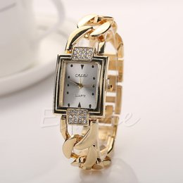 womens wrist band watches Canada - 1 PC Womens Lady Twist Chain Stainless Steel Band Analog Quartz Wrist Watch