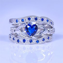 Wholesale NEW Cute Heart Blue Stone Ring Set for Women Wedding Jewelry K white gold plated CZ Crystal Engagement Bridal Rings Sets R615